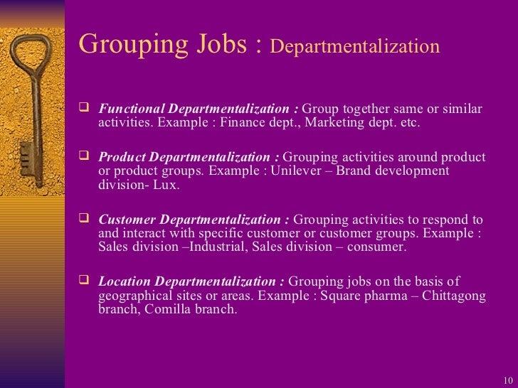 Grouping Jobs :  Departmentalization <ul><li>Functional Departmentalization :  Group together same or similar activities. ...