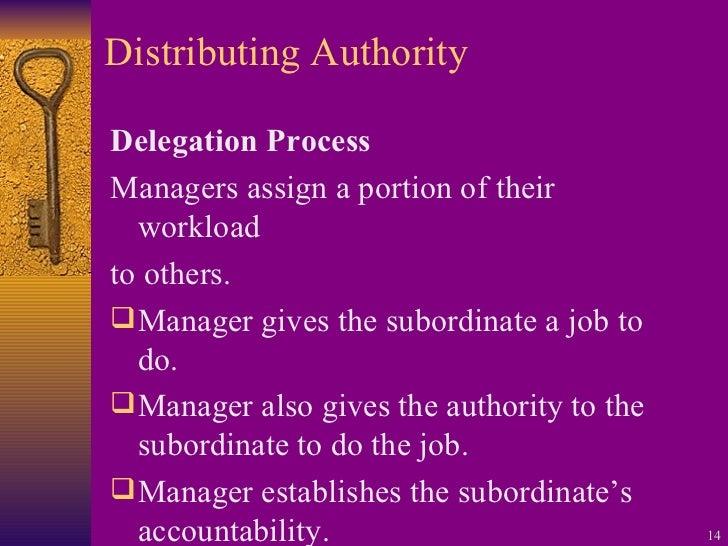Distributing Authority <ul><li>Delegation Process </li></ul><ul><li>Managers assign a portion of their workload </li></ul>...