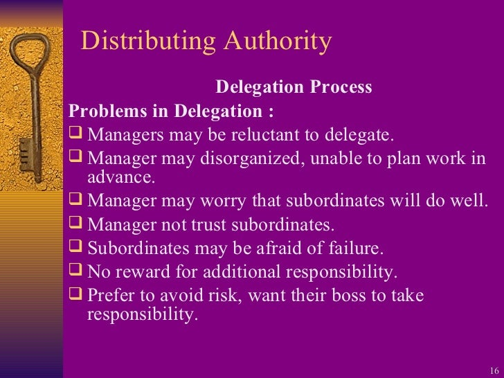 Distributing Authority <ul><li>Delegation Process </li></ul><ul><li>Problems in Delegation : </li></ul><ul><li>Managers ma...