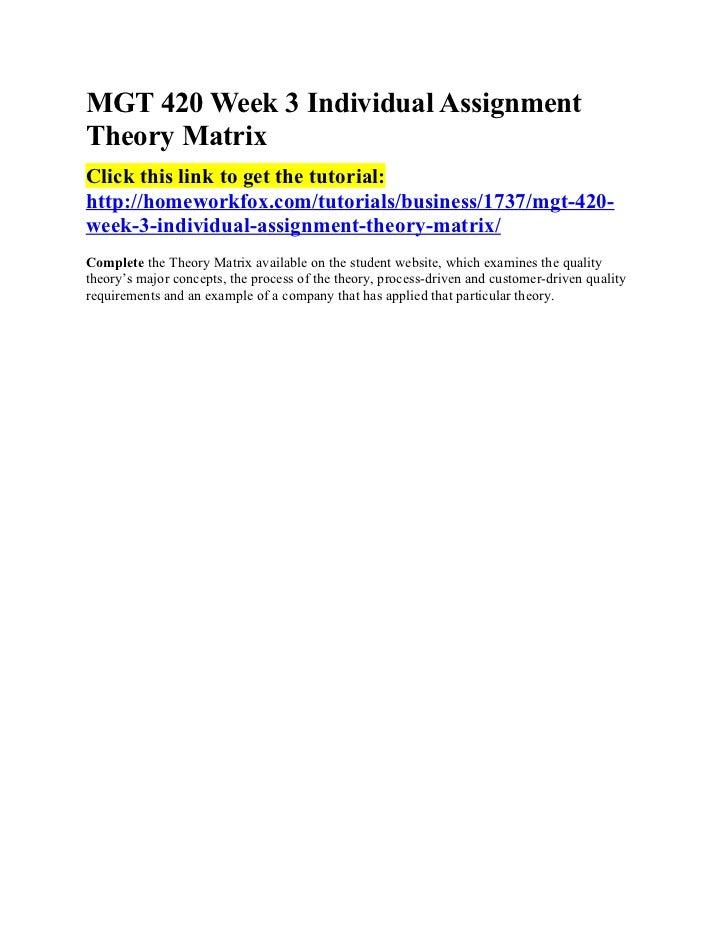 MGT 420 Week 3 Individual AssignmentTheory MatrixClick this link to get the tutorial:http://homeworkfox.com/tutorials/busi...