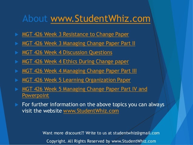 managing change paper part iii Mgt 426 week 5 learning team assignment managing change paper and presentation part iv  mgt 426 week 4 learning team assignment managing change paper part iii.