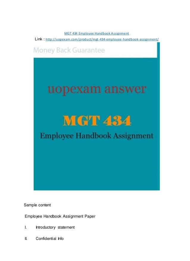 MGT 434 Employee Handbook Assignment 2015 version