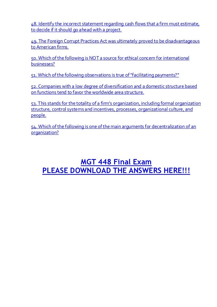 MGT 448 Final Exam