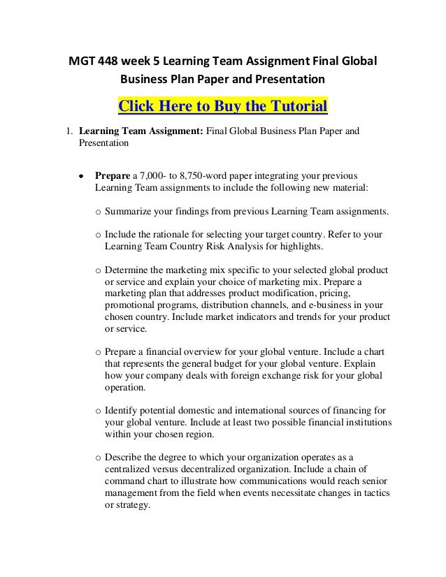 global marketing report example