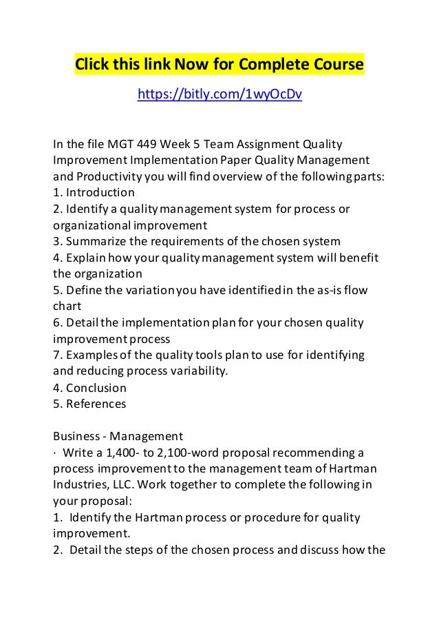 MGT 449 Week 3 Team Assignment - Strategic Quality Management and Customer Satisfaction Paper