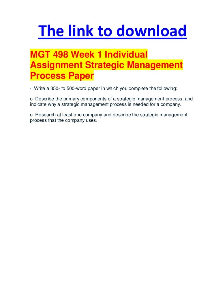Strategic Management Process Paper Sample