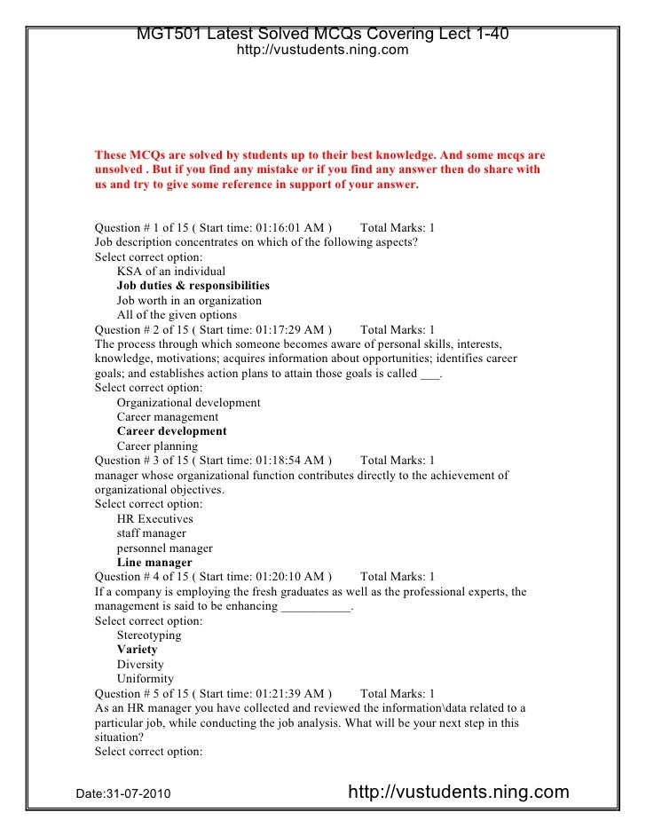 MGT501 Latest Solved MCQs Covering Lect 1-40                    http://vustudents.ning.comDate:31-07-2010                 ...