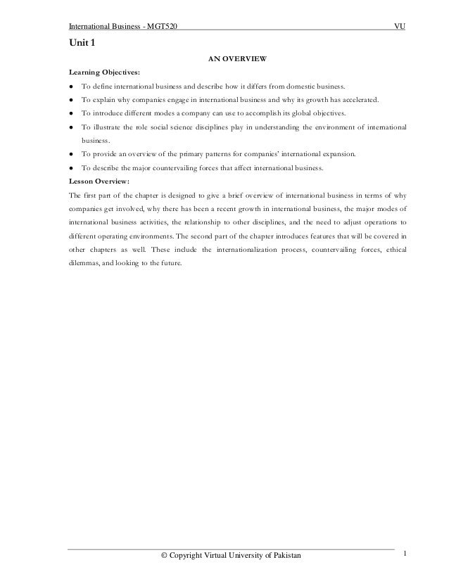 International Business - MGT520                                                                          VUUnit 1         ...