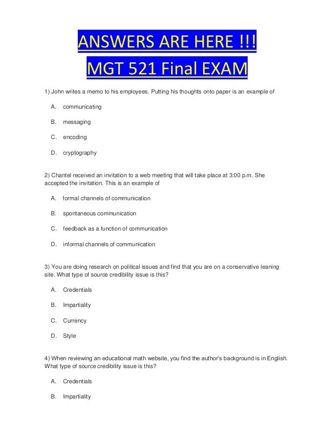 operations management final exam questions and answers Final exam september 2012 page 1 of 4 answer key   students must answer at least 14 questions correctly 1 the purpose of the operations section at an incident is to: a order adequate resources to contain the incident b develop the incident objectives  final exam answer key author: fema.