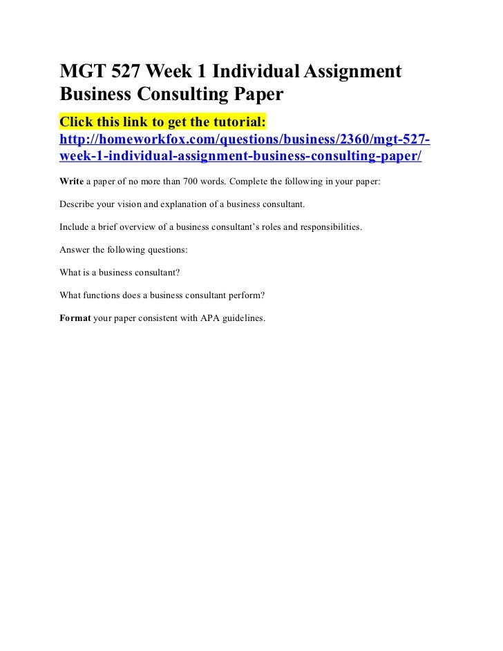 Business Consulting Assignment