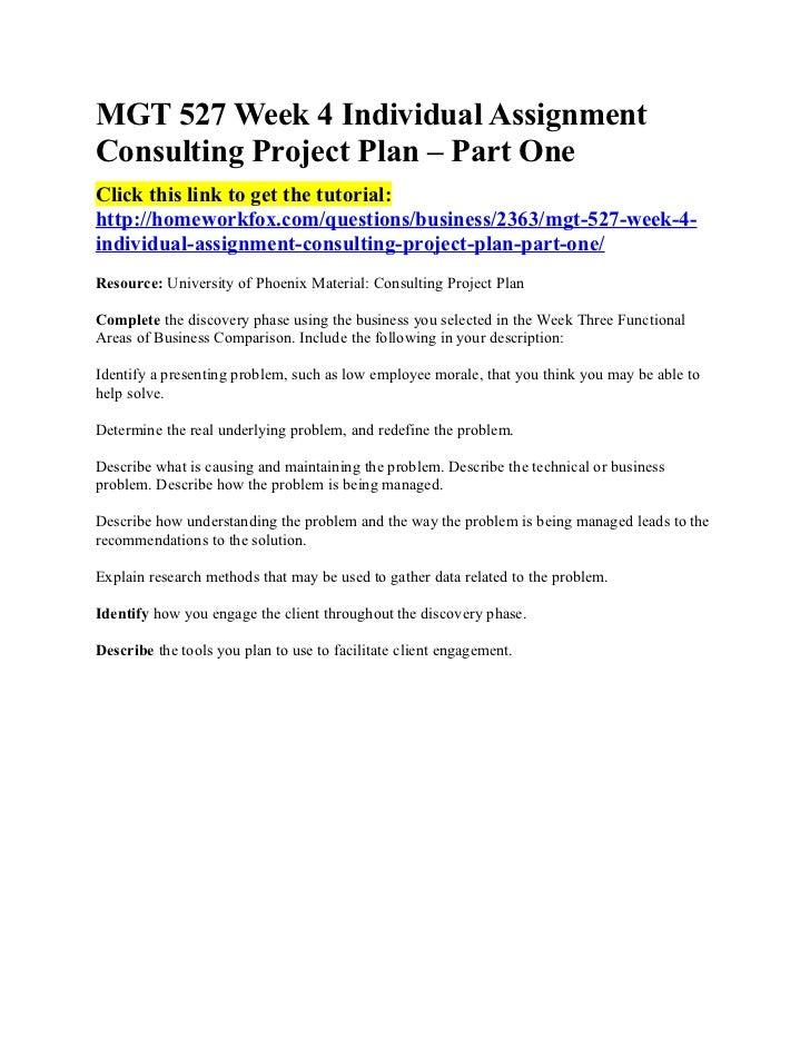 Mgt 527 week 4 individual assignment consulting project plan for 527 plan