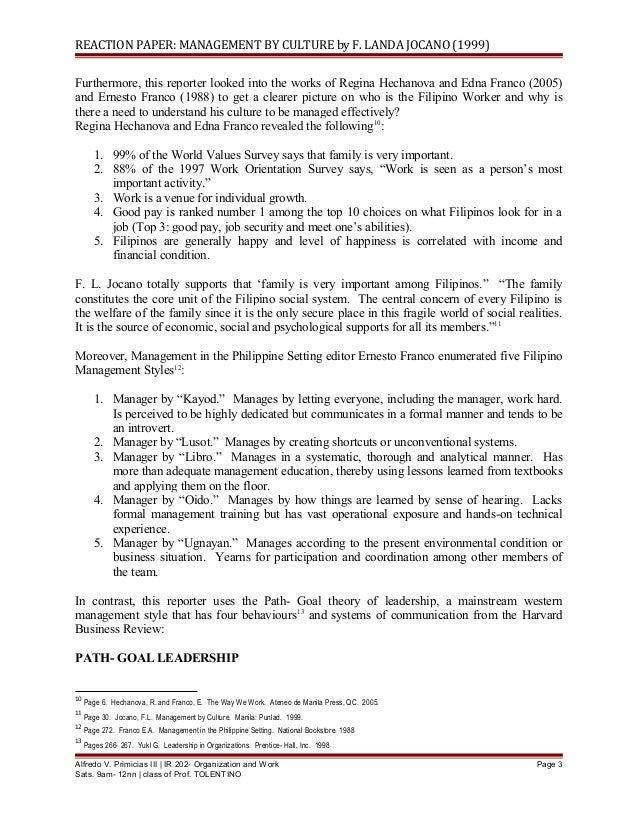Reaction paper filipino values