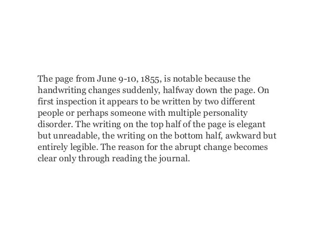 The page from June 9-10, 1855, is notable because the handwriting changes suddenly, halfway down the page. On first inspec...