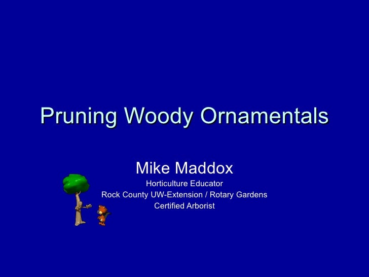 Pruning Woody Ornamentals Mike Maddox Horticulture Educator Rock County UW-Extension / Rotary Gardens Certified Arborist