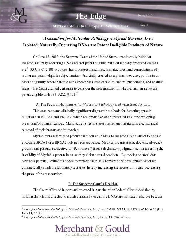 m~ÖÉ=N= qÜÉ=bÇÖÉ= jCdÛë=fåíÉääÉÅíì~ä=mêçéÉêíó=tÜáíÉ=m~éÉê= gìåÉI=OMNP= Association for Molecular Pathology v. Myriad...
