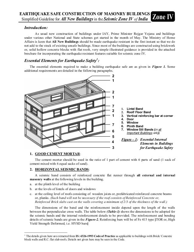 EARTHQUAKE SAFE CONSTRUCTION OF MASONRY BUILDINGS Simplified Guideline for All New Buildings in the Seismic Zone IV of Ind...