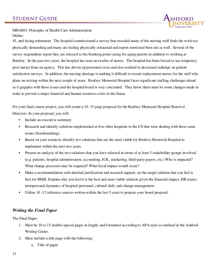 mha601 final Mha 601 week 6 final paper ashford general hospital proposal focus of the final paper ashford general hospital is a 263-bed regional hospital located in california that has served its community for more than 50 years.