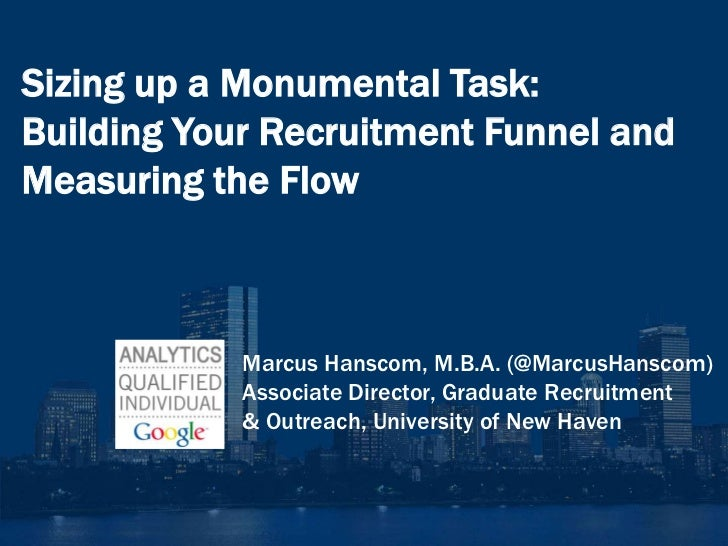 Sizing up a Monumental Task:Building Your Recruitment Funnel andMeasuring the Flow            Marcus Hanscom, M.B.A. (@Mar...