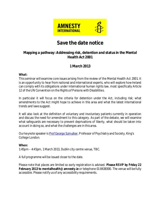 Save the date notice   Mapping a pathway: Addressing risk, detention and status in the Mental                            H...