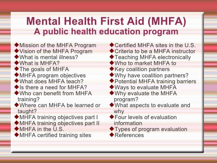 Complete Overview Of A Mental Health First Aid Program