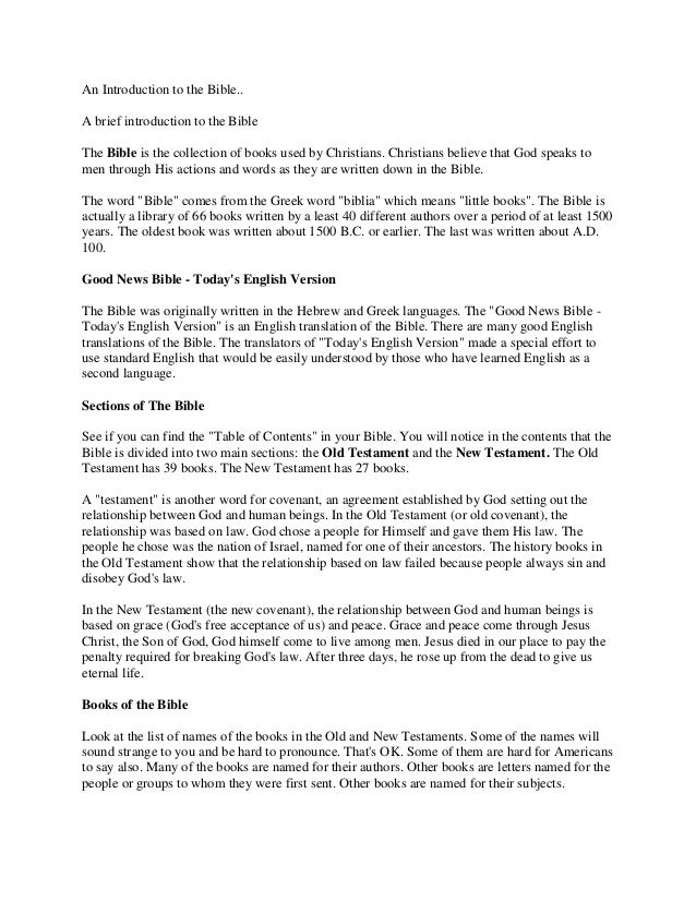 An Introduction to the Bible.. A brief introduction to the Bible The Bible is the collection of books used by Christians. ...
