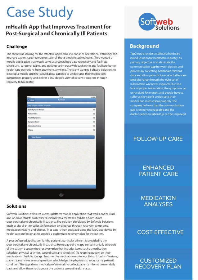FOLLOW-UP CARE ENHANCED PATIENT CARE MEDICATION ANALYSES COST-EFFECTIVE CUSTOMIZED RECOVERY PLAN Background TapCloud provi...