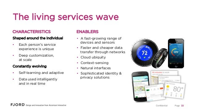 The living services wave CHARACTERISTICS  ENABLERS  Shaped around the individual  • A fast-growing range of devices and s...