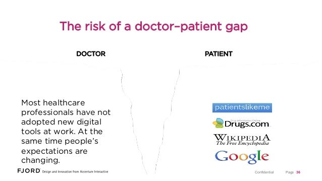 The risk of a doctor–patient gap DOCTOR  PATIENT  Most healthcare professionals have not adopted new digital tools at work...