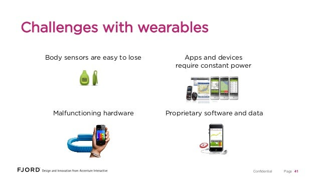 Challenges with wearables Body sensors are easy to lose  Apps and devices require constant power  Malfunctioning hardware ...