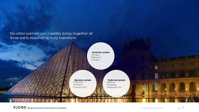 Accenture + Fjord design and deliver delight No other partner can credibly bring together all three parts required to trul...