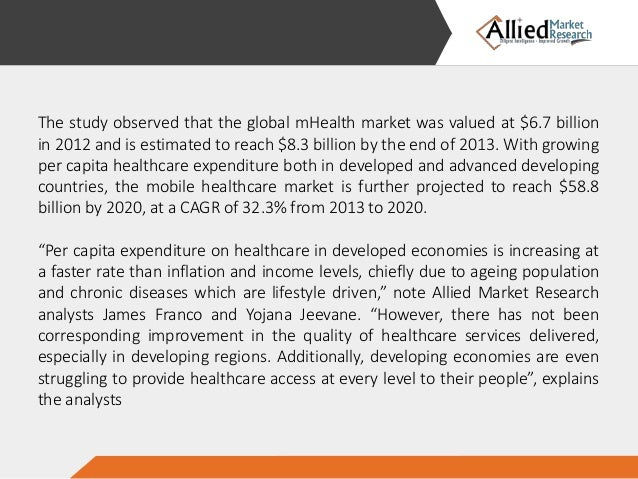 mhealth market is expected to reach The mhealth market was valued $104 billion and is expected to reach $1569 billion in 2023, supported by a cagr of 472% mhealth (mobile health) is a general term that makes use of mobile phones and other communication technologies in medical care.