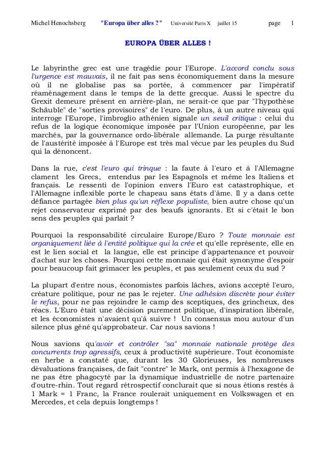"""Michel Henochsberg """"Europa über alles ?"""" Université Paris X juillet 15 page 1 EUROPA ÜBER ALLES ! Le labyrinthe grec est u..."""