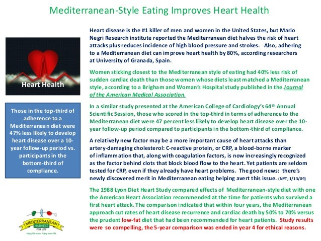 Mediterranean-Style Eating Improves Heart Health Heart disease is the #1 killer of men and women in the United States, but...