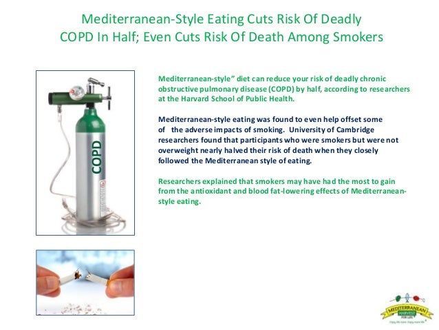 """Mediterranean-Style Eating Cuts Risk Of Deadly COPD In Half; Even Cuts Risk Of Death Among Smokers Mediterranean-style"""" di..."""