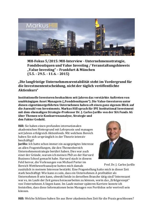 """MH-Fokus 5/2015: MH-Interview - Unternehmensstrategie, Fondsboutiquen und Value Investing / Veranstaltungshinweis """"Value I..."""
