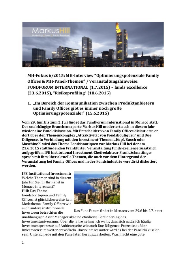 "1 MH-Fokus 6/2015: MH-Interview ""Optimierungspotenziale Family Offices & MH-Panel-Themen"" / Veranstaltungshinweise: FUNDFO..."