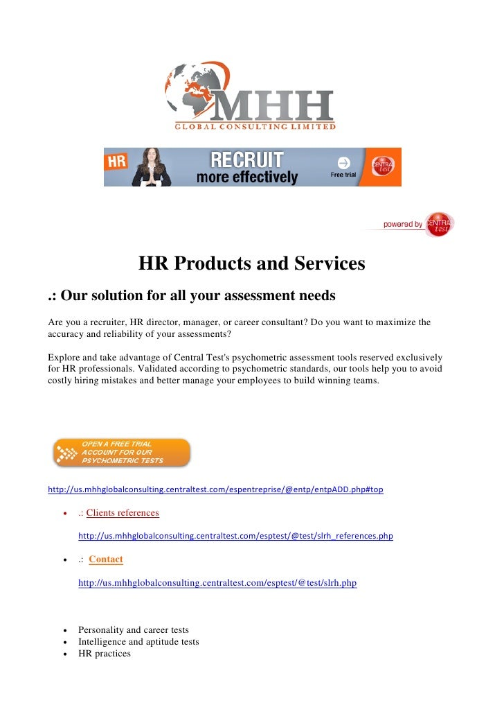 HR Products and Services .: Our solution for all your assessment needs Are you a recruiter, HR director, manager, or caree...