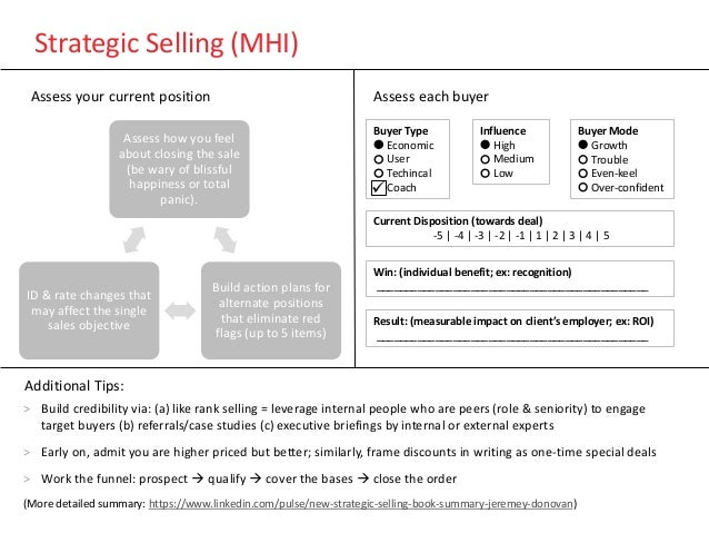 Strategic Selling (MHI) > Build credibility via: (a) like rank selling = leverage internal people who are peers (role & se...