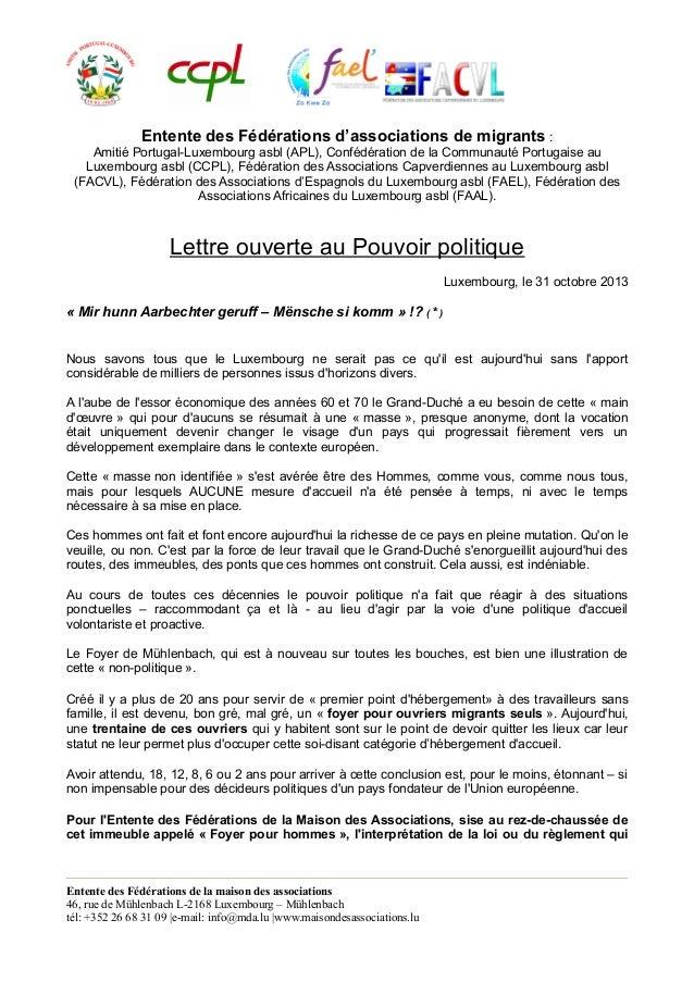 Entente des Fédérations d'associations de migrants : Amitié Portugal-Luxembourg asbl (APL), Confédération de la Communauté...