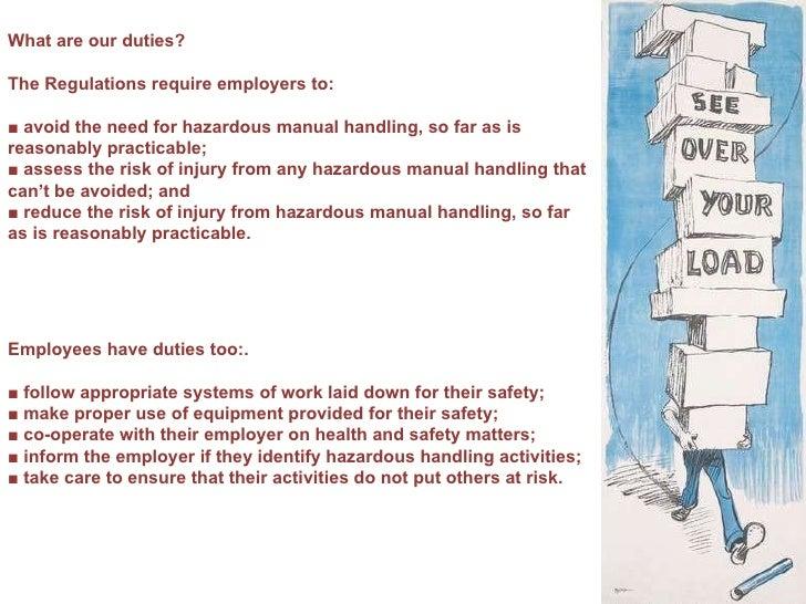 mh manual handling rh slideshare net Manual Handling Risk Assessment Manual Handling Poster