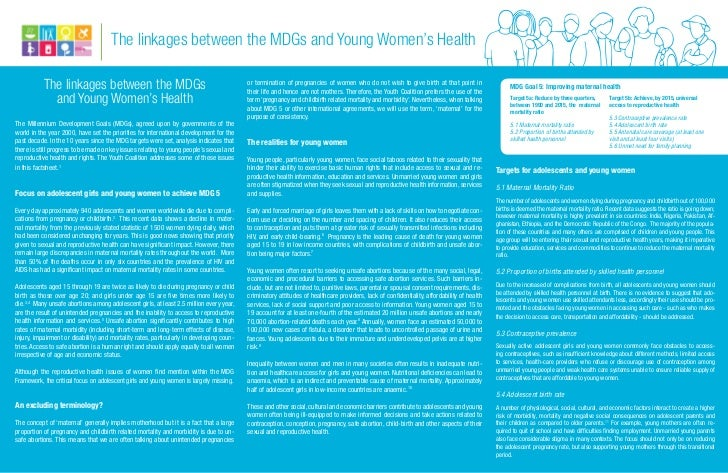 The linkages between the MDGs and Young Women's Health           The linkages between the MDGs                            ...
