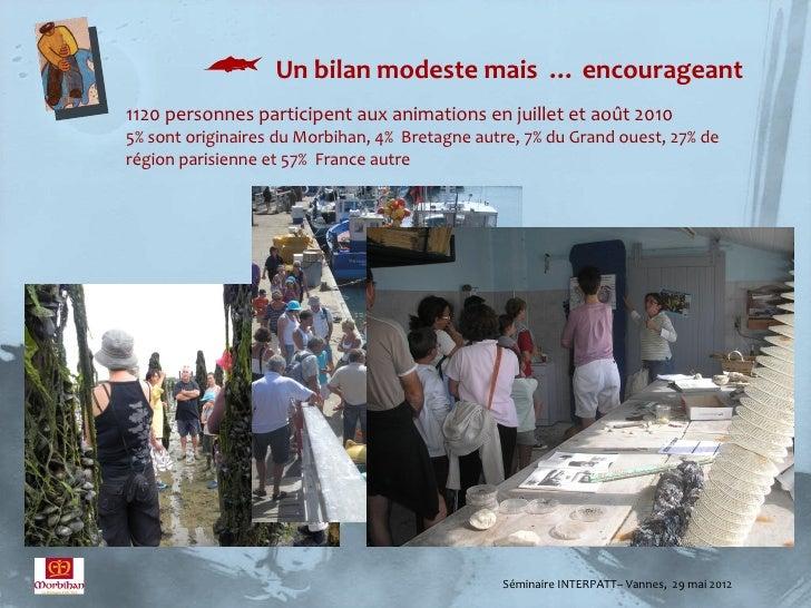  Un bilan modeste mais … encourageant1120 personnes participent aux animations en juillet et août 20105% sont originaires...