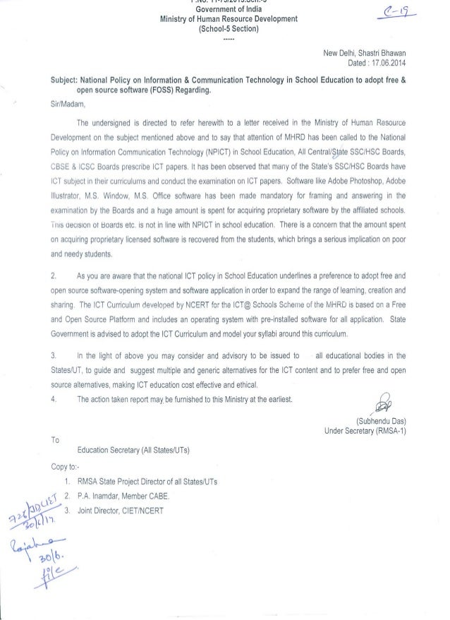 Mhrd Circular June 2014 On Free And Open Source Software