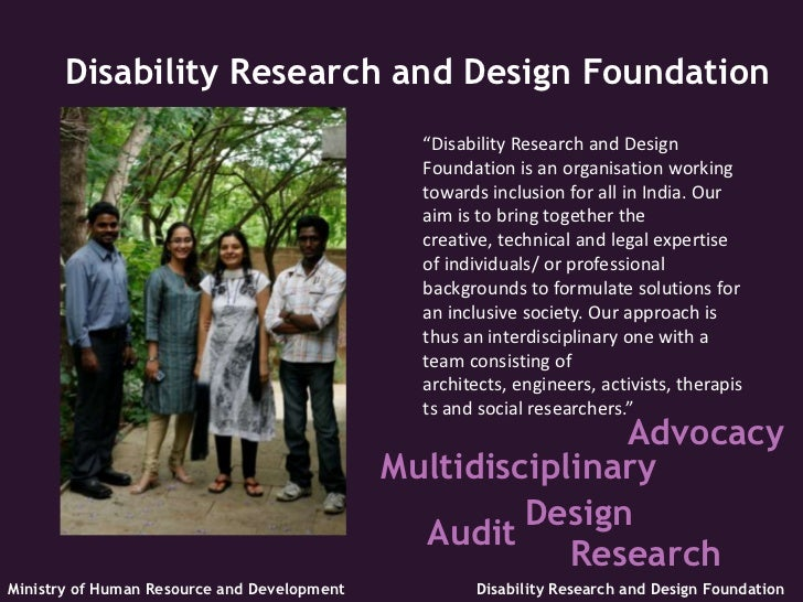 """Disability Research and Design Foundation                                               """"Disability Research and Design   ..."""