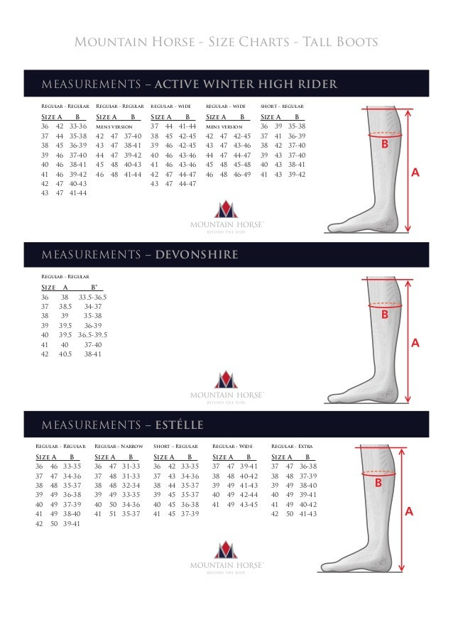 Mountain Horse - Size Charts - Tall Boots MEASUREMENTS – DEVONSHIRE Regular - Regular Size A B* 36 38 33,5-36,5 37 38,5 34...