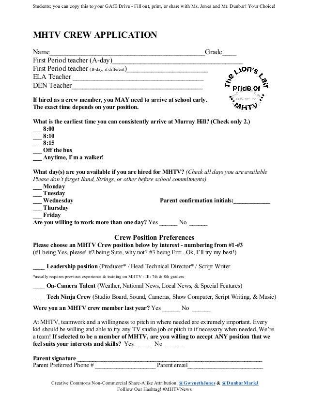 MHYV Crew Application