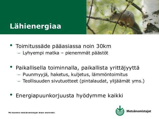 Me teemme metsänomistajan eteen enemmän. MHY Kaakon palvelut • Onnistunutkaan nuoren metsän energiapuuketju ei korvaa oike...