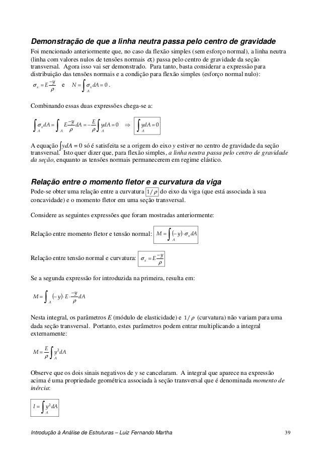 Introdução à Análise de Estruturas – Luiz Fernando Martha 39 Demonstração de que a linha neutra passa pelo centro de gravi...
