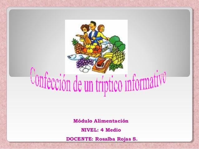 Módulo Alimentación NIVEL: 4 Medio DOCENTE: Rosalba Rojas S.