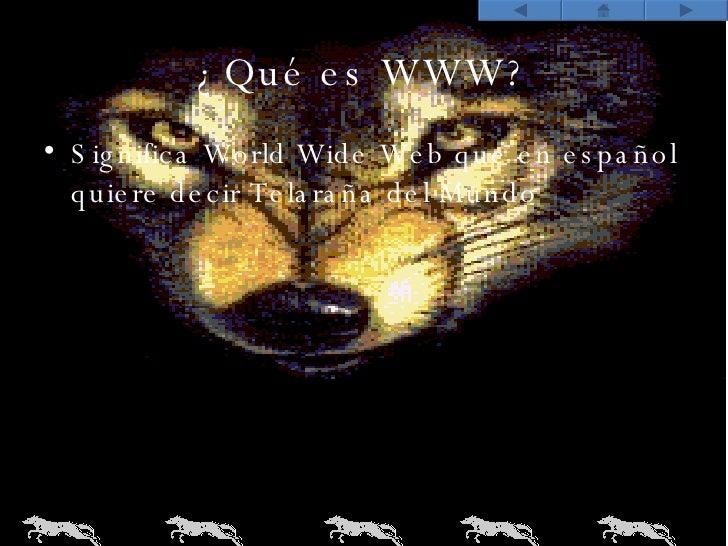 ¿Qué es WWW? <ul><li>Significa World Wide Web que en español quiere decir Telaraña del Mundo </li></ul>